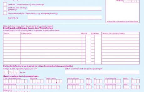 Verordnung einer Krankenbeförderung Muster 4 Rückseite