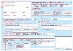 Verordnung einer Krankenbeförderung Muster 4 Taxischein die Frontseite