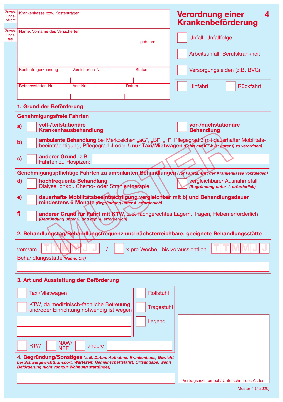 Verordnung einer Krankenbeförderung Muster 4